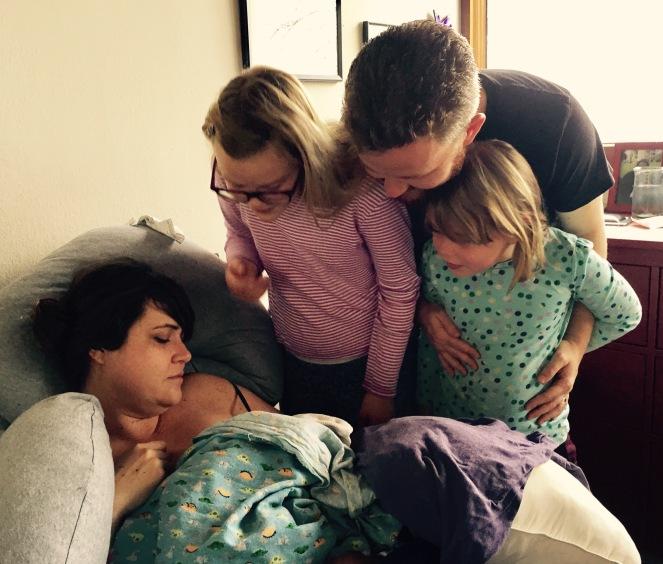 home birth, homebirth family, baby, island midwife